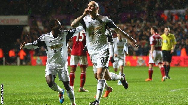 Jonjo Shelvey of Swansea City celebrates scoring the opening goal