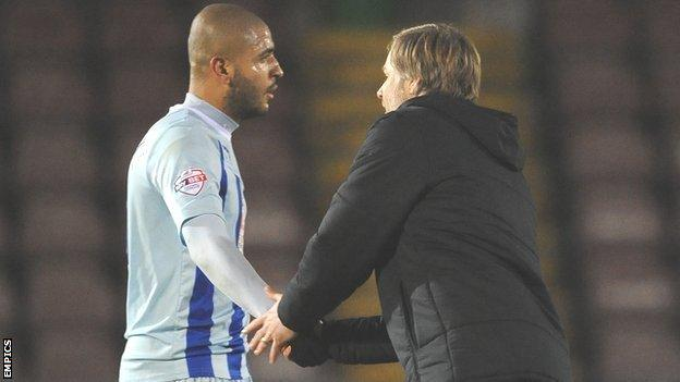 Coventry City striker Leon Clarke and manager Steven Pressley in happier times