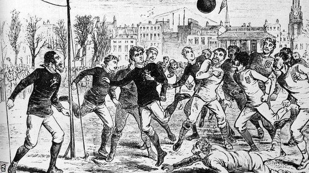 A drawing of England v Scotland from 1878