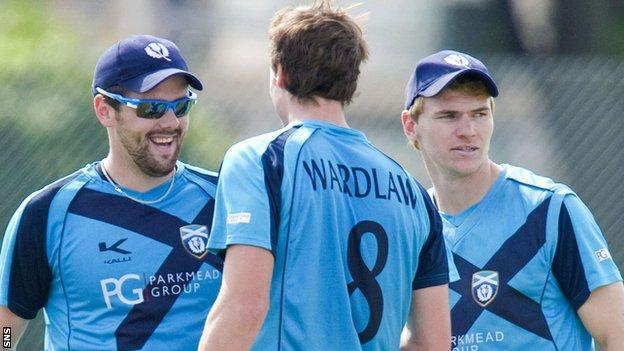 Scotland's cricketers celebrating