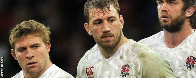 Tom Youngs, Chris Robshaw and Geoff Parling look dejected after their defeat by Wales in Cardiff last year