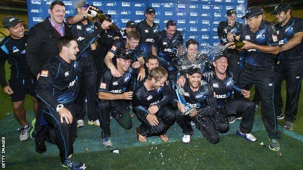 New Zealand celebrate winning the one-day series