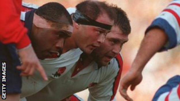 Victor Ubogu, Brian Moore and Jason Leonard scrum down against France
