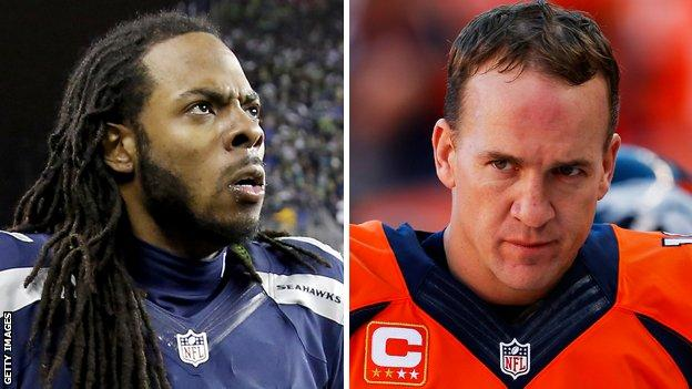 Richard Sherman (left) of the Seattle Seahawks faces Denver Broncos' Peyton Manning in Super Bowl XLVIII
