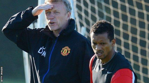 Manchester United manager David Moyes and winger Nani