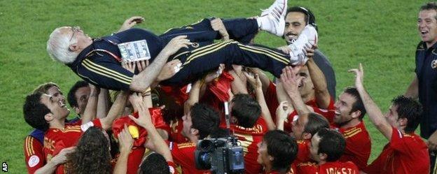 Spain national team celebrate Euro 2008 success