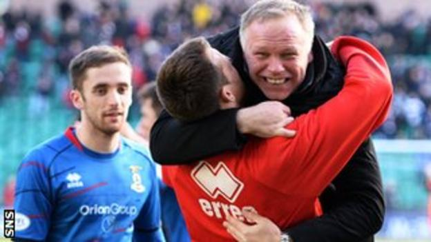Inverness manager John Hughes celebrates after his side reach their first major domestic final