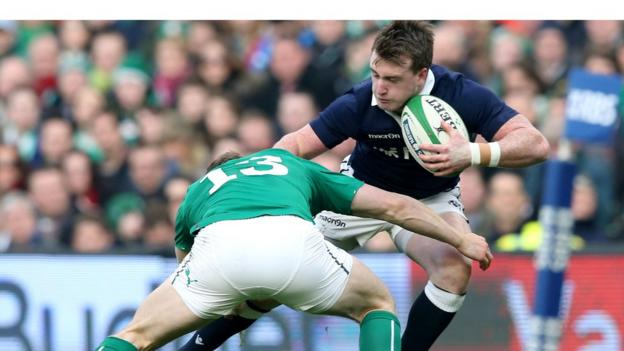 Ireland's Brian O'Driscoll tackles Stuart Hogg during a keenly fought Six Nations encounter