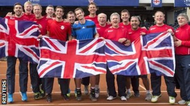 The Great Britain team celebrate their Davis Cup win over USA in San Diego