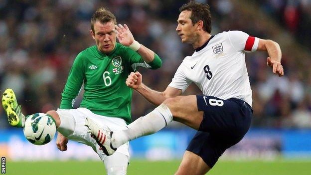 Glenn Whelan of the Republic of Ireland in action against England's Frank Lampard at Wembley in May 2013