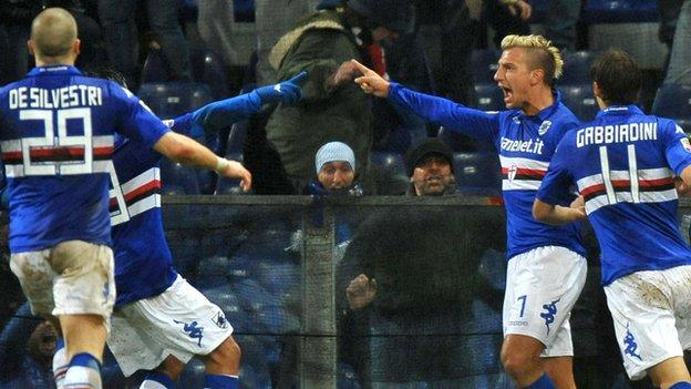 Sampdoria striker Maxi Lopez celebrates his goal against Genoa