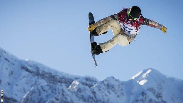 Shaun White practises on the Sochi slopestyle course