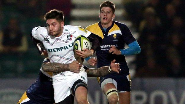 Leicester's Owen Williams is tackled during Leicester's 21-18 LV= Cup win at Sixways in November