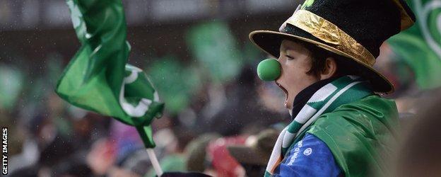 An Ireland fan at the Aviva Stadium