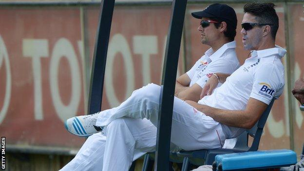 England captain Alastair Cook and Kevin Pietersen