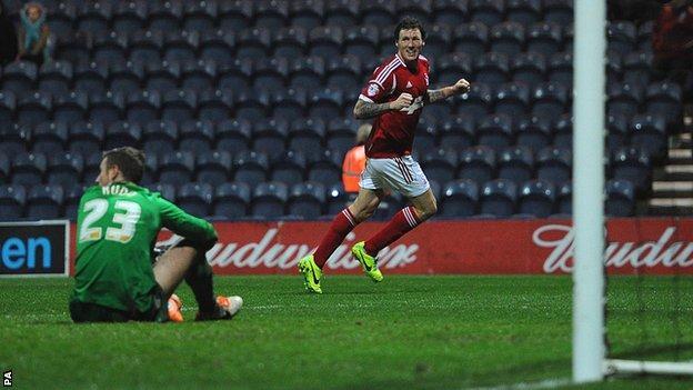 Darius Henderson scores against Preston