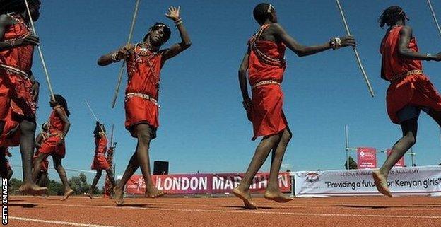 Masai warriors dance at the inauguration of the the Lorna Kiplagat Sports Academy