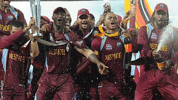 West Indies with the World Twenty20 trophy in 2012