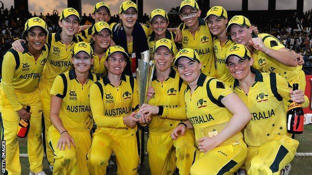 Australia with the Women's World Twenty20 trophy in 2012