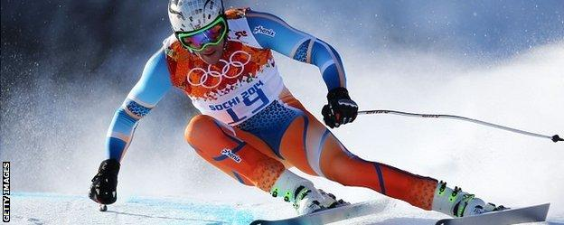 Aksel Lund Svindal of Norway takes a turn during training for the Olympic men's downhill