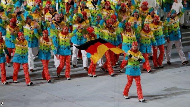 German team on parade