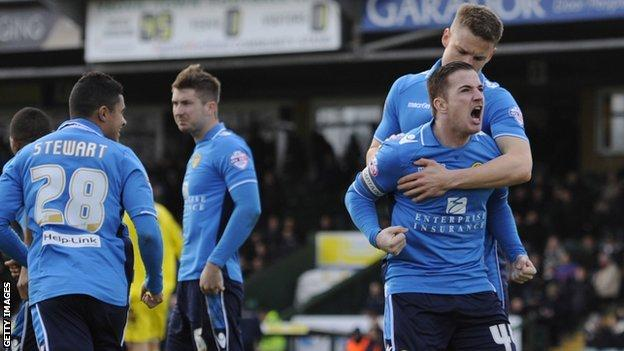 Leeds striker Ross McCormack (right) celebrates after his goal at Yeovil
