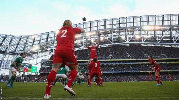 Richard Hibbard throws into a line-out as Wales take on Ireland in the Six Nations in Dublin