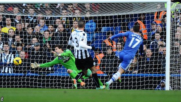 Eden Hazard scores for Chelsea against Newcastle