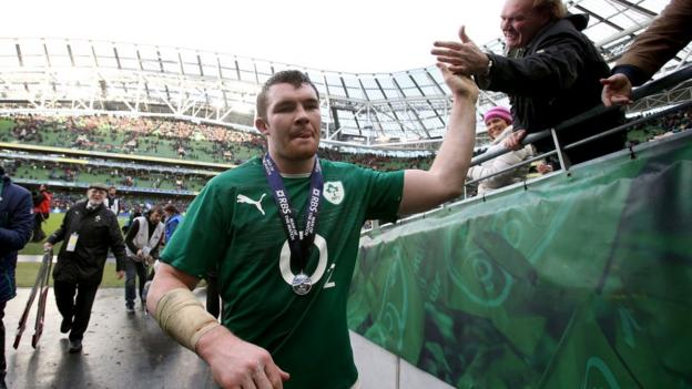 Man-of-the-match Peter O'Mahony celebrates with Irish fans after playing a significant part in Ireland's victory