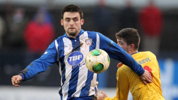 Eoin Bradley and Cameron Grieve in action as Coleraine crash out to Dungannon Swifts in the Irish Cup