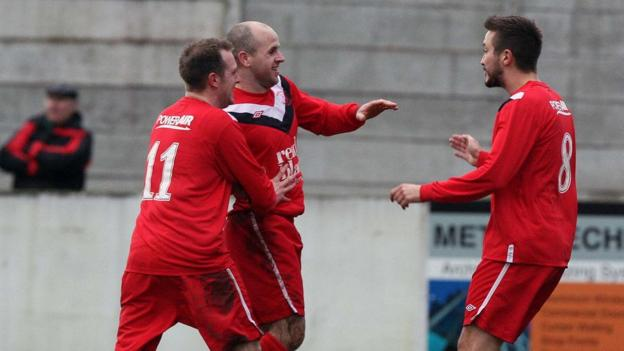 Kyle Agnew scored the first of Ballyclare's goals in their 2-1 Irish Cup win over Carrick Rangers at Dixon Park