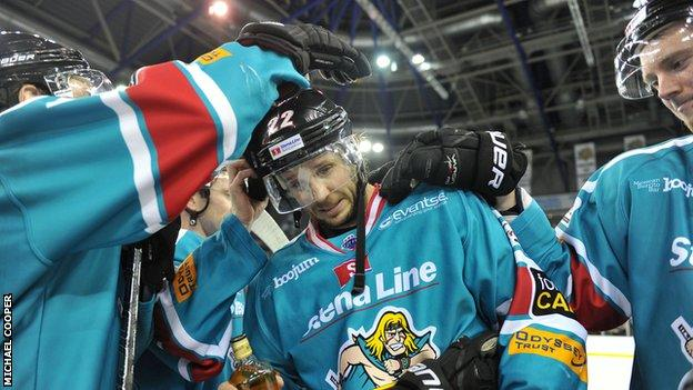 Man of the match Kevin Saurette of the Belfast Giants celebrates after the 6-4 win over the Fife Flyers