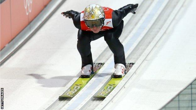 Thomas Morgenstern of Austria takes part in the Men's Normal Hill Individual Ski Jumping training ahead of the Sochi 2014 Winter Olympics at the RusSki Gorki Ski Jumping.