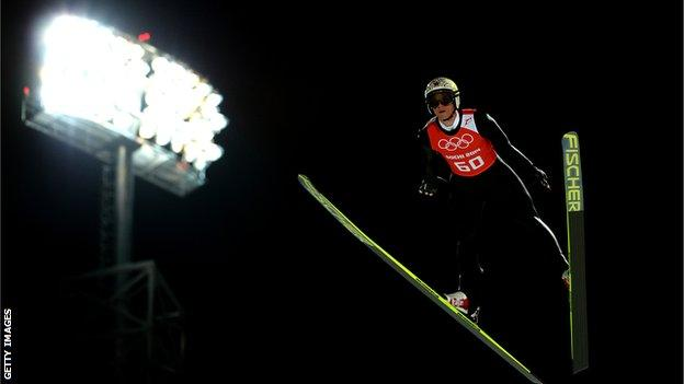 Thomas Morgenstern of Austria jumps during the Men's Normal Hill Individual Ski Jumping training ahead of the Sochi 2014 Winter Olympics at the RusSki Gorki Ski Jumping.