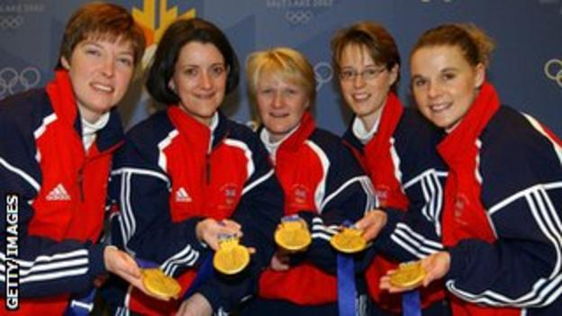 Rhona Martin and team-mates celebrate their gold medal in 2002