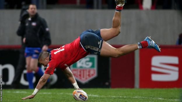 Munster wing Simon Zebo scores an acrobatic try as they crush Cardiff Blues 54-13 in the Pro12