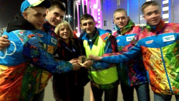Jenny Jones and Sochi volunteers