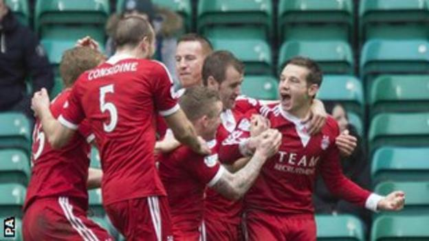 Aberdeen celebrate at Celtic Park