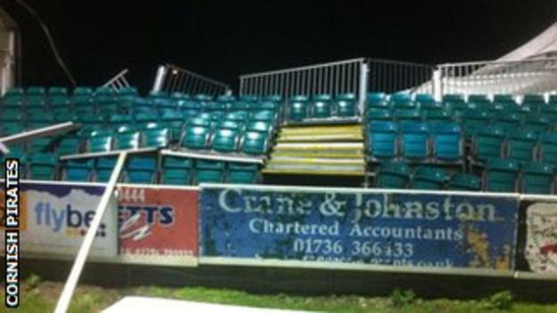 Some of the seating has buckled at the Mennaye Field