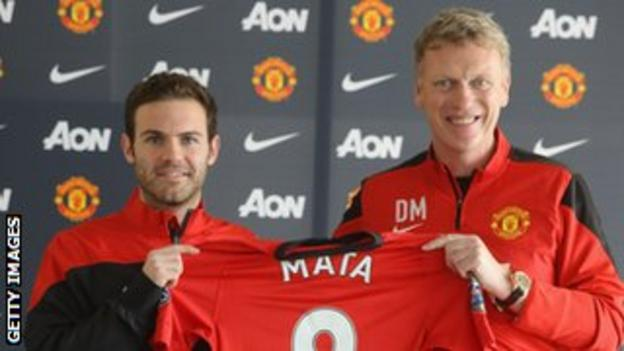 Juan Mata is unveiled to the press by David Moyes