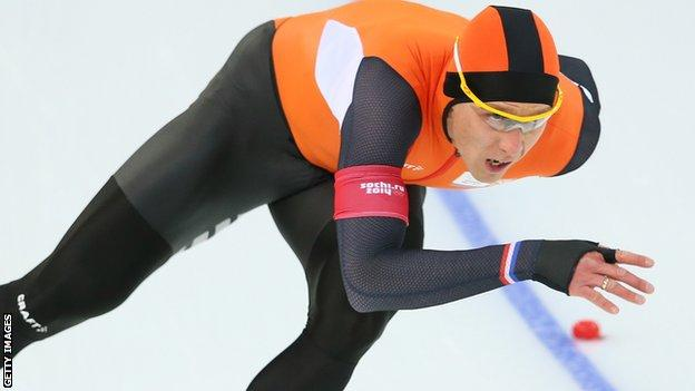 """Stefan Groothuis of the Netherlands competes during the Men""""s 1000m Speed Skating event during day 5 of the Sochi 2014 Winter Olympics"""