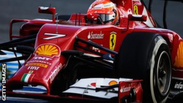 Kimi Raikkonen tests new Ferrari car in Jerez