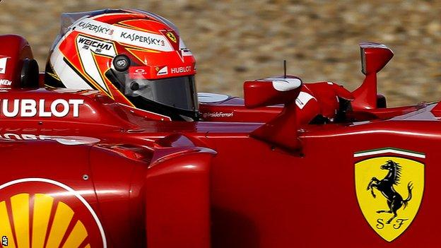 Kimi Raikkonen testing for Ferrari during pre-season