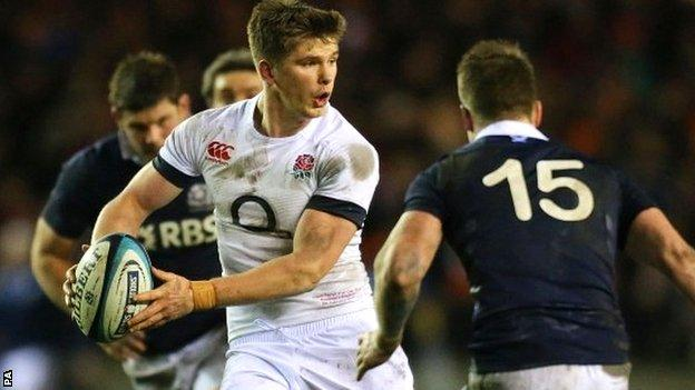 England's Owen Farrell in Six Nations action against Scotland
