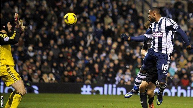 Victor Anichebe climbs above David Luiz to equalise for Albion against Chelsea at The Hawthorns