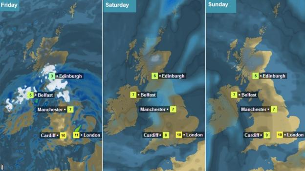 BBC weather forecast maps for Friday, Saturday and Sunday