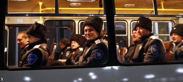 Russian police are bussed in for security duty