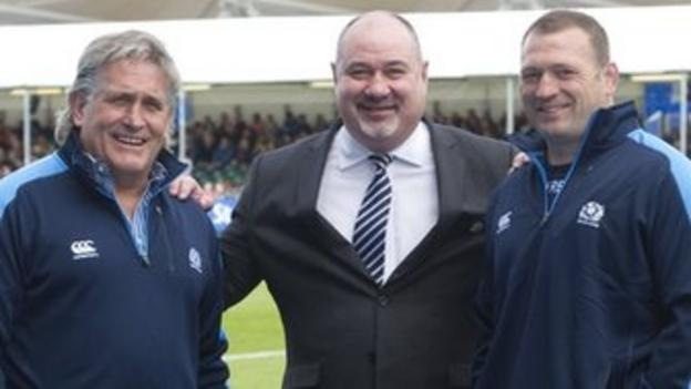Mark Dodson (centre) is backing coaches Scott Johnston (left) and Jonathan Humphreys