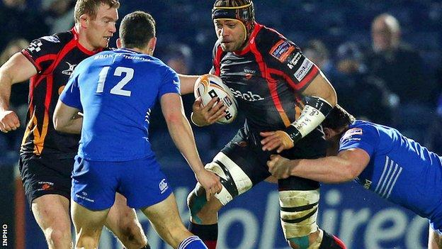 Dragons flanker Netani Talei charges at the Leinster defence
