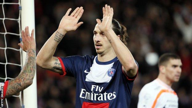 Zlatan Ibrahimovic celebrates scoring for Paris St-Germain against Valenciennes